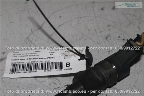 Renault MEGANE (02>05<)(06>08<) Iniettore diesel 1.9 DCI (96kw) elettrico (F9Q E8) (Bosch 230) BOSCH 0445110230 #2